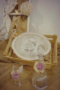 Χειροποίητος Ιταλικός ξύλινος Δίσκος με Κρυστάλλινη Μποτίλια - Ποτήρι